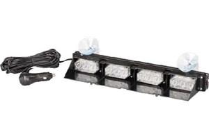 Svítidlo výstražné LED, interní,  stínítko + přísavky, 12V, 4-modulové, modrá/červená
